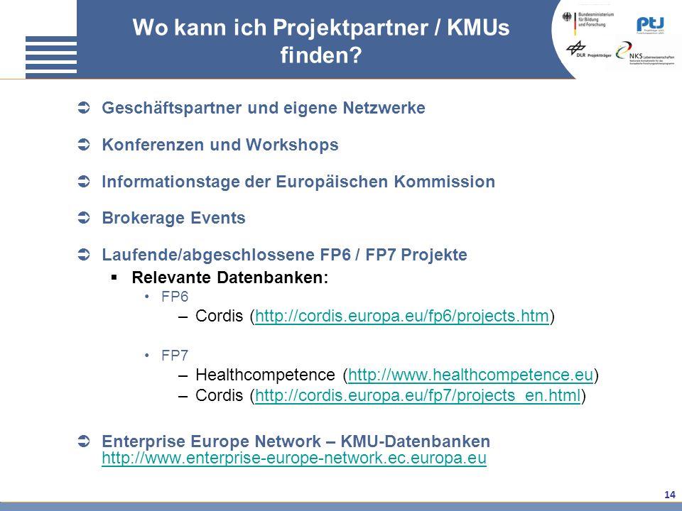 14 Geschäftspartner und eigene Netzwerke Konferenzen und Workshops Informationstage der Europäischen Kommission Brokerage Events Laufende/abgeschlosse