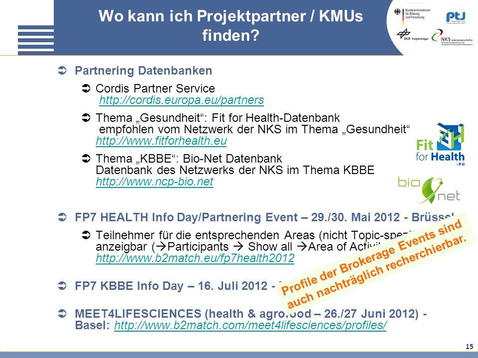15 Partnering Datenbanken Cordis Partner Service http://cordis.europa.eu/partnershttp://cordis.europa.eu/partners Thema Gesundheit: Fit for Health-Dat