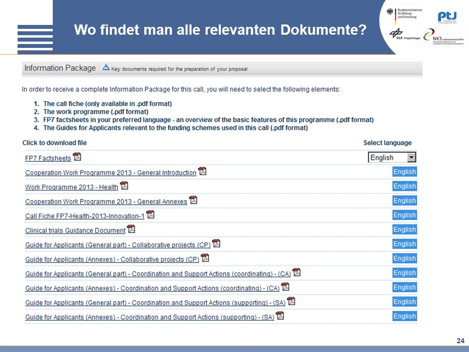 24 Wo findet man alle relevanten Dokumente?