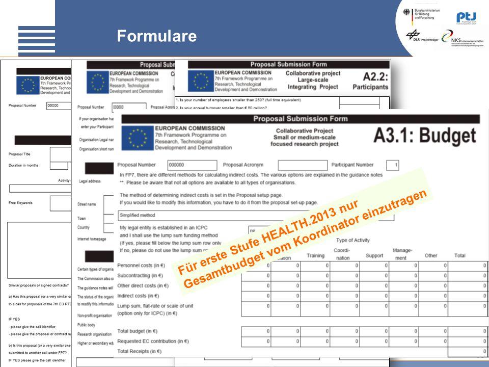 30 Formulare Für erste Stufe HEALTH.2013 nur Gesamtbudget vom Koordinator einzutragen