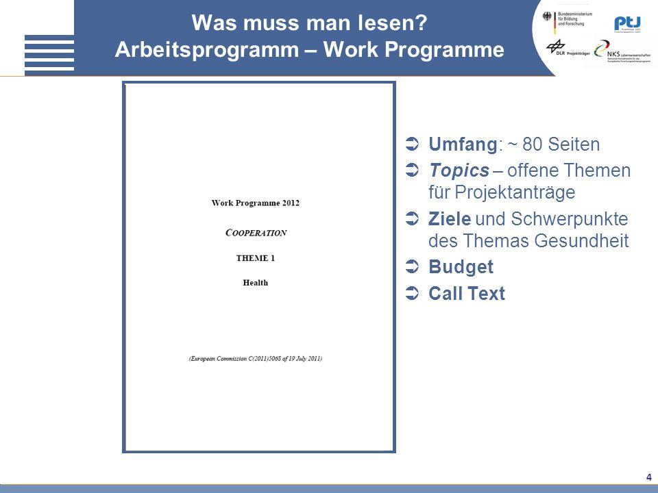 4 Was muss man lesen? Arbeitsprogramm – Work Programme Umfang: ~ 80 Seiten Topics – offene Themen für Projektanträge Ziele und Schwerpunkte des Themas