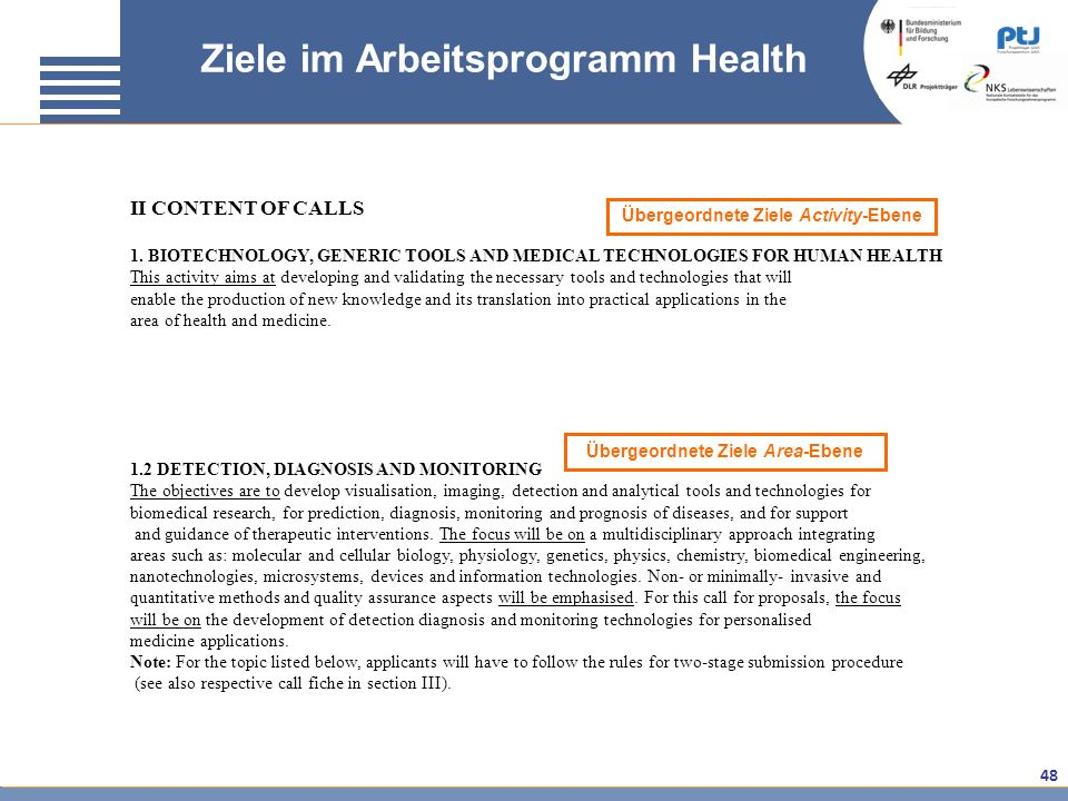 48 Ziele im Arbeitsprogramm Health II CONTENT OF CALLS 1. BIOTECHNOLOGY, GENERIC TOOLS AND MEDICAL TECHNOLOGIES FOR HUMAN HEALTH This activity aims at
