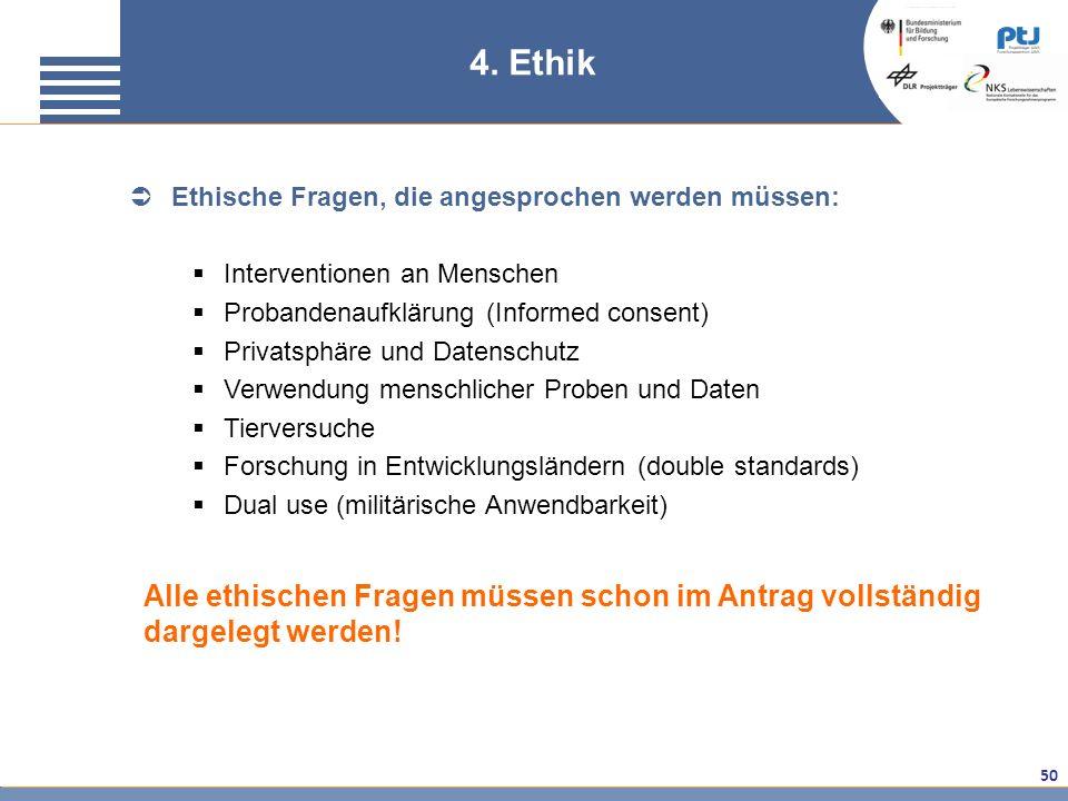 50 4. Ethik Ethische Fragen, die angesprochen werden müssen: Interventionen an Menschen Probandenaufklärung (Informed consent) Privatsphäre und Datens