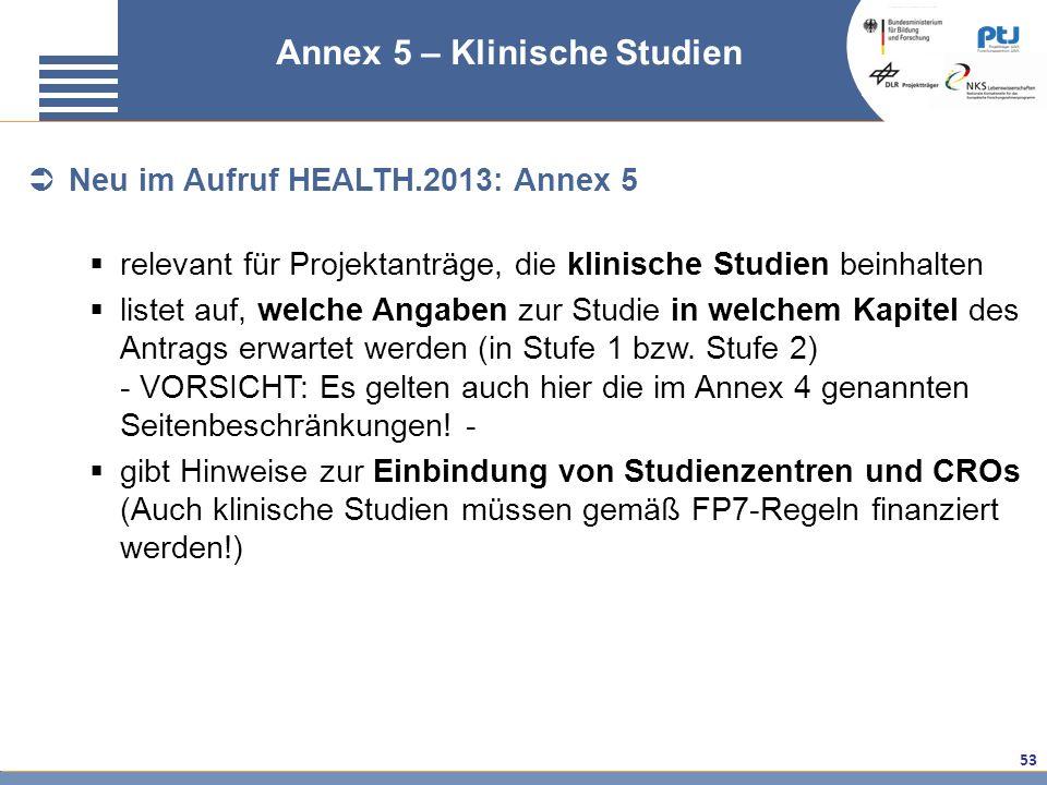 53 FAQ klinische Studien – Annex 5 Annex 5 – Klinische Studien Neu im Aufruf HEALTH.2013: Annex 5 relevant für Projektanträge, die klinische Studien b