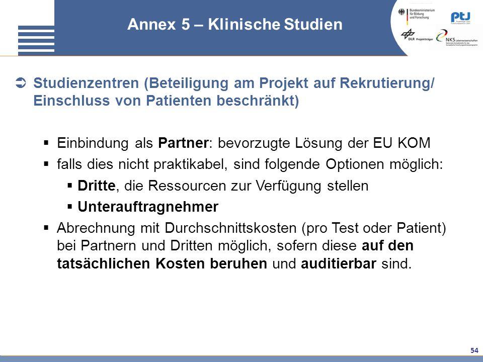 54 FAQ klinische Studien – Annex 5 Annex 5 – Klinische Studien Studienzentren (Beteiligung am Projekt auf Rekrutierung/ Einschluss von Patienten besch