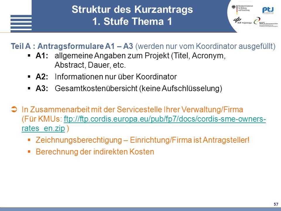 57 Teil A : Antragsformulare A1 – A3 (werden nur vom Koordinator ausgefüllt) A1:allgemeine Angaben zum Projekt (Titel, Acronym, Abstract, Dauer, etc.