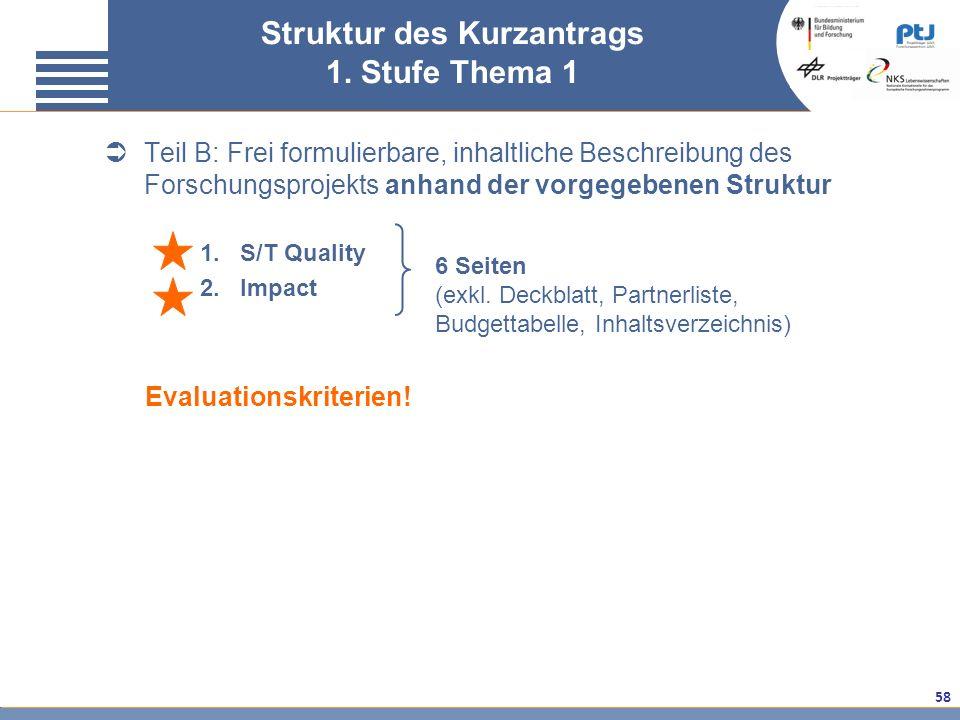 58 Teil B: Frei formulierbare, inhaltliche Beschreibung des Forschungsprojekts anhand der vorgegebenen Struktur 1.S/T Quality 2.Impact Struktur des Ku