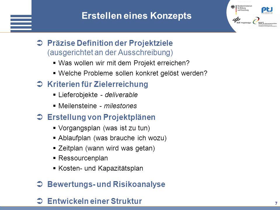 7 Präzise Definition der Projektziele (ausgerichtet an der Ausschreibung) Was wollen wir mit dem Projekt erreichen? Welche Probleme sollen konkret gel