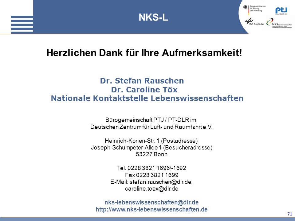 71 Herzlichen Dank für Ihre Aufmerksamkeit! Dr. Stefan Rauschen Dr. Caroline Töx Nationale Kontaktstelle Lebenswissenschaften Bürogemeinschaft PTJ / P
