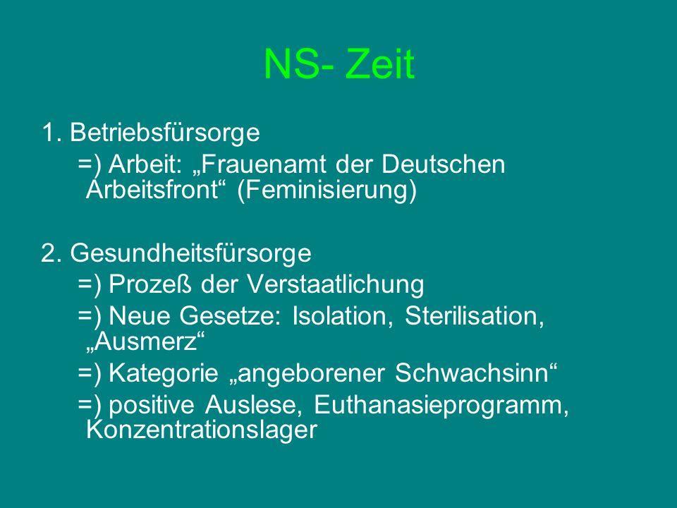 NS- Zeit 1. Betriebsfürsorge =) Arbeit: Frauenamt der Deutschen Arbeitsfront (Feminisierung) 2. Gesundheitsfürsorge =) Prozeß der Verstaatlichung =) N