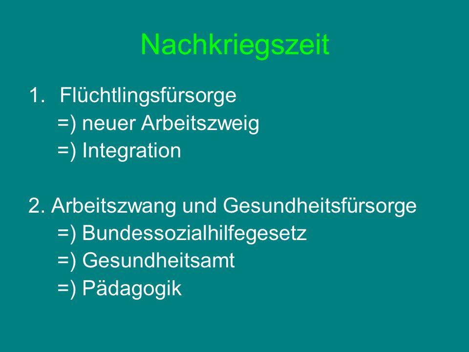 Nachkriegszeit 1.Flüchtlingsfürsorge =) neuer Arbeitszweig =) Integration 2. Arbeitszwang und Gesundheitsfürsorge =) Bundessozialhilfegesetz =) Gesund
