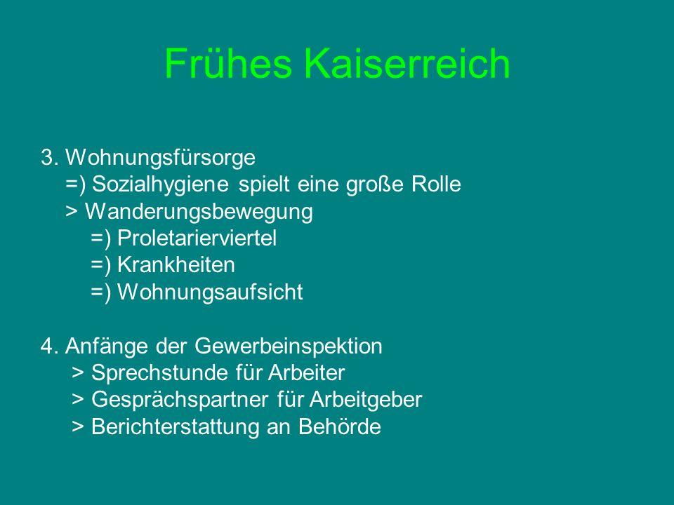 Frühes Kaiserreich Erster Weltkrieg Weimarer Republik NS-Zeit Nachkriegs- zeit Jugendfürsorge Gesundheitsfürsorge Wohnungsfürsorge Gewerbe- inspektion