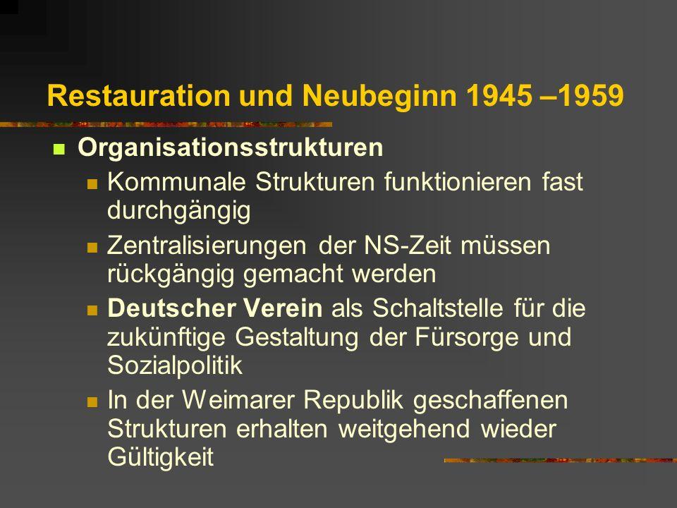 Restauration und Neubeginn 1945 –1959 Organisationsstrukturen Kommunale Strukturen funktionieren fast durchgängig Zentralisierungen der NS-Zeit müssen