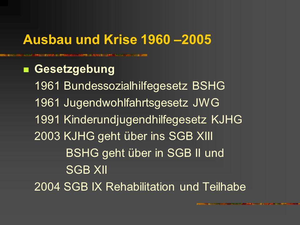 Ausbau und Krise 1960 –2005 Gesetzgebung 1961 Bundessozialhilfegesetz BSHG 1961 Jugendwohlfahrtsgesetz JWG 1991 Kinderundjugendhilfegesetz KJHG 2003 KJHG geht über ins SGB XIII BSHG geht über in SGB II und SGB XII 2004 SGB IX Rehabilitation und Teilhabe
