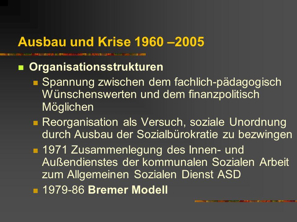 Ausbau und Krise 1960 –2005 Organisationsstrukturen Spannung zwischen dem fachlich-pädagogisch Wünschenswerten und dem finanzpolitisch Möglichen Reorg