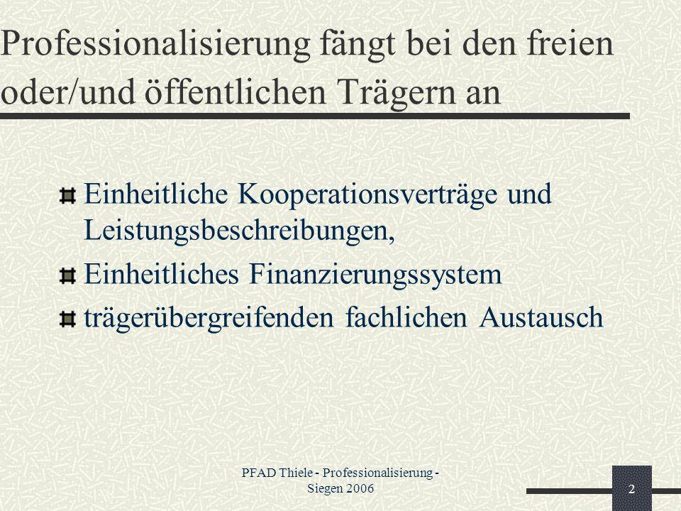 PFAD Thiele - Professionalisierung - Siegen 20062 Professionalisierung fängt bei den freien oder/und öffentlichen Trägern an Einheitliche Kooperations