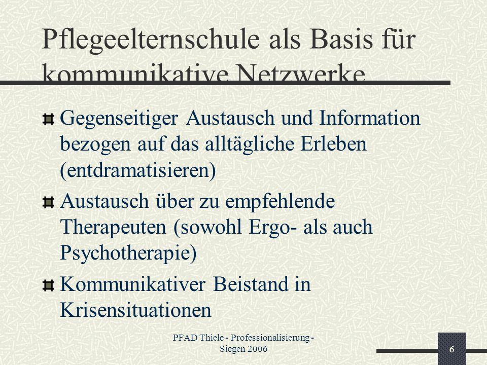 PFAD Thiele - Professionalisierung - Siegen 20066 Pflegeelternschule als Basis für kommunikative Netzwerke Gegenseitiger Austausch und Information bez