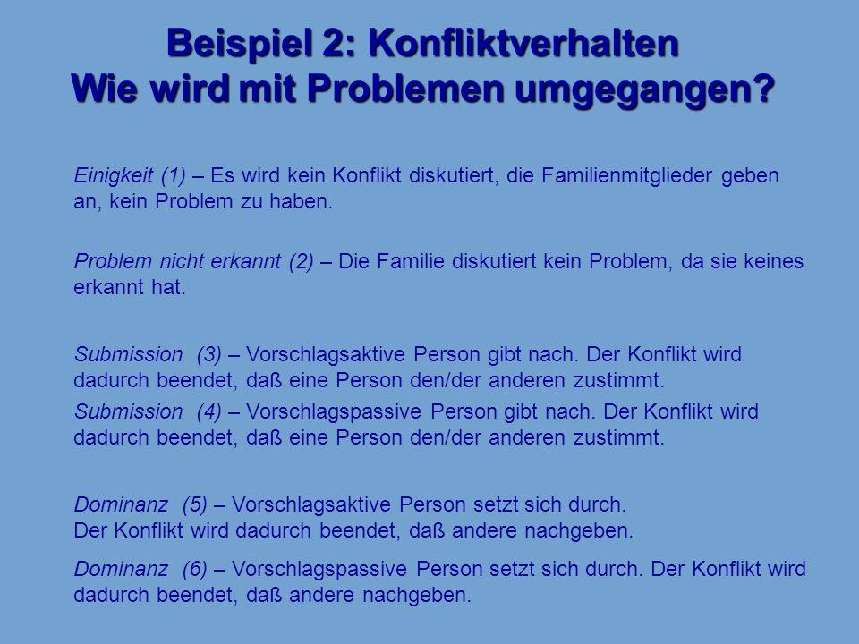 Beispiel 2: Konfliktverhalten Wie wird mit Problemen umgegangen? Einigkeit (1) – Es wird kein Konflikt diskutiert, die Familienmitglieder geben an, ke