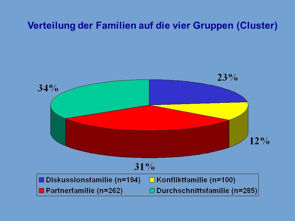 Verteilung der Familien auf die vier Gruppen (Cluster)