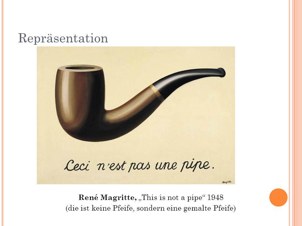 Repräsentation René Magritte, This is not a pipe 1948 (die ist keine Pfeife, sondern eine gemalte Pfeife)