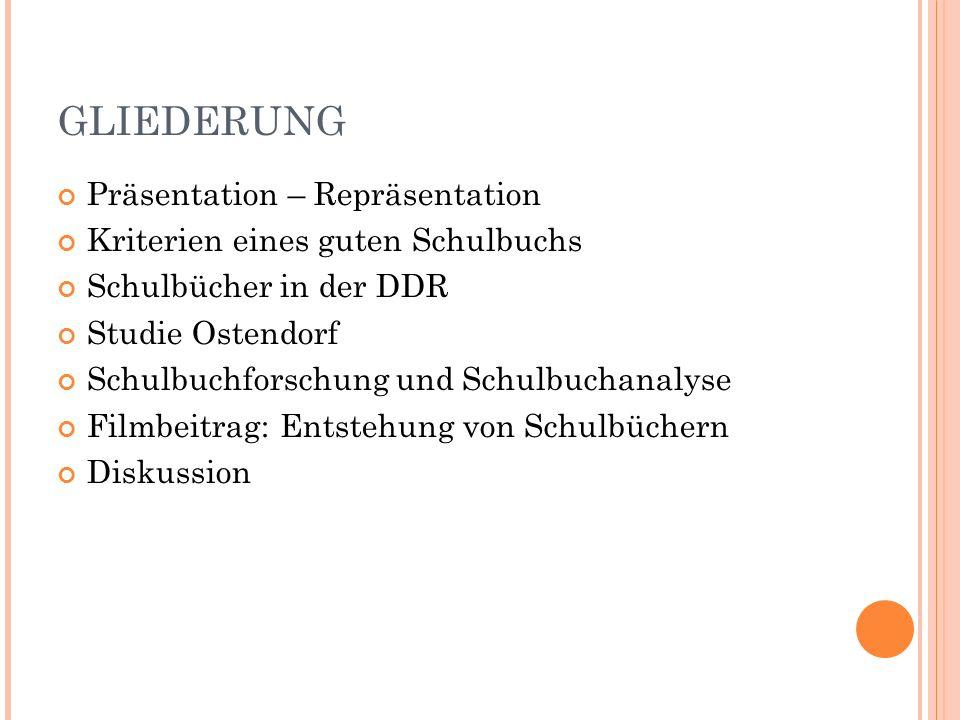 GLIEDERUNG Präsentation – Repräsentation Kriterien eines guten Schulbuchs Schulbücher in der DDR Studie Ostendorf Schulbuchforschung und Schulbuchanalyse Filmbeitrag: Entstehung von Schulbüchern Diskussion