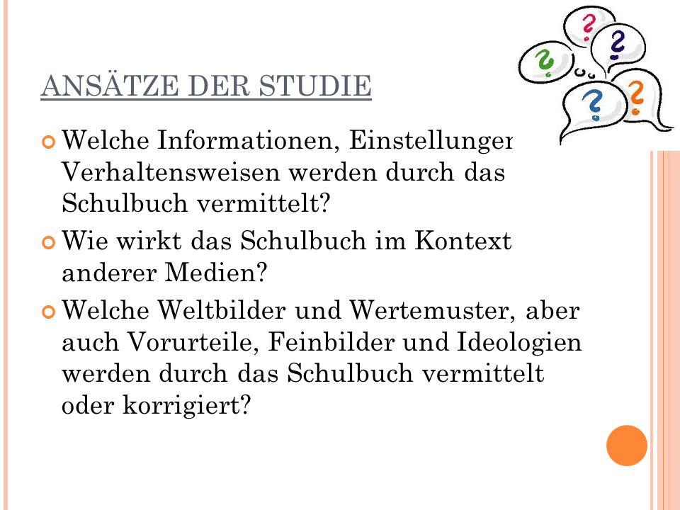 ANSÄTZE DER STUDIE Welche Informationen, Einstellungen und Verhaltensweisen werden durch das Schulbuch vermittelt.