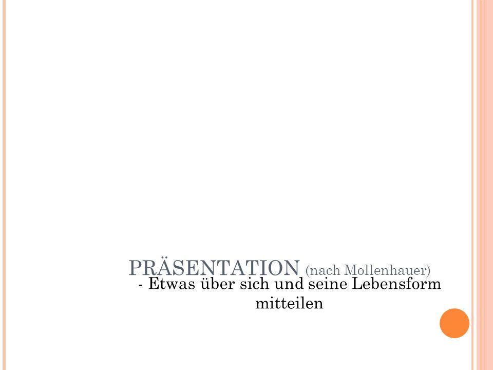 PRÄSENTATION (nach Mollenhauer) - Etwas über sich und seine Lebensform mitteilen