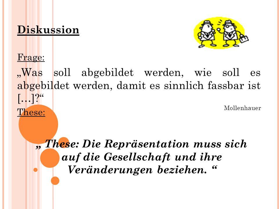 Diskussion Frage: These: Die Repräsentation muss sich auf die Gesellschaft und ihre Veränderungen beziehen.