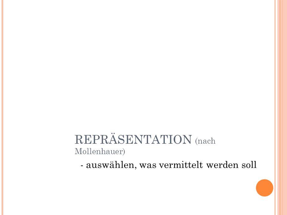 REPRÄSENTATION (nach Mollenhauer) - auswählen, was vermittelt werden soll
