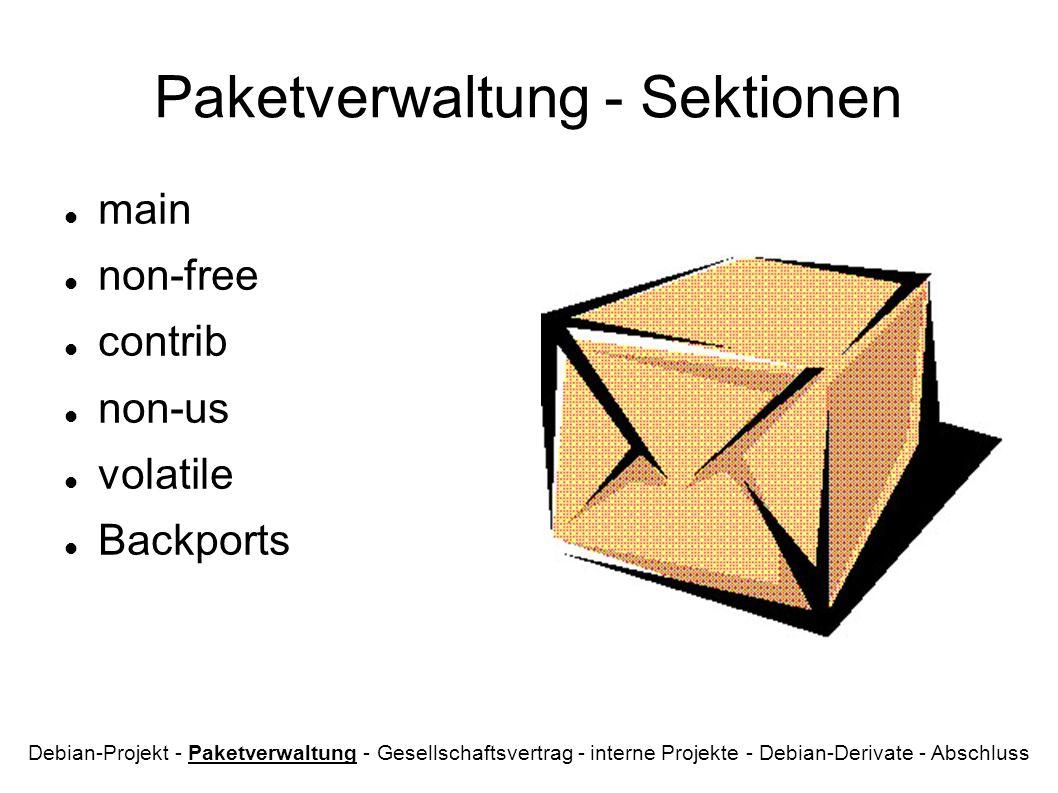 Paketverwaltung - Sektionen main non-free contrib non-us volatile Backports Debian-Projekt - Paketverwaltung - Gesellschaftsvertrag - interne Projekte - Debian-Derivate - Abschluss