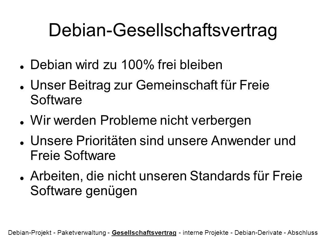 Debian-Gesellschaftsvertrag Debian wird zu 100% frei bleiben Unser Beitrag zur Gemeinschaft für Freie Software Wir werden Probleme nicht verbergen Unsere Prioritäten sind unsere Anwender und Freie Software Arbeiten, die nicht unseren Standards für Freie Software genügen Debian-Projekt - Paketverwaltung - Gesellschaftsvertrag - interne Projekte - Debian-Derivate - Abschluss