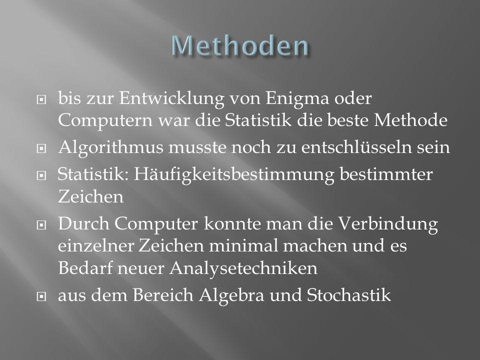 bis zur Entwicklung von Enigma oder Computern war die Statistik die beste Methode Algorithmus musste noch zu entschlüsseln sein Statistik: Häufigkeits