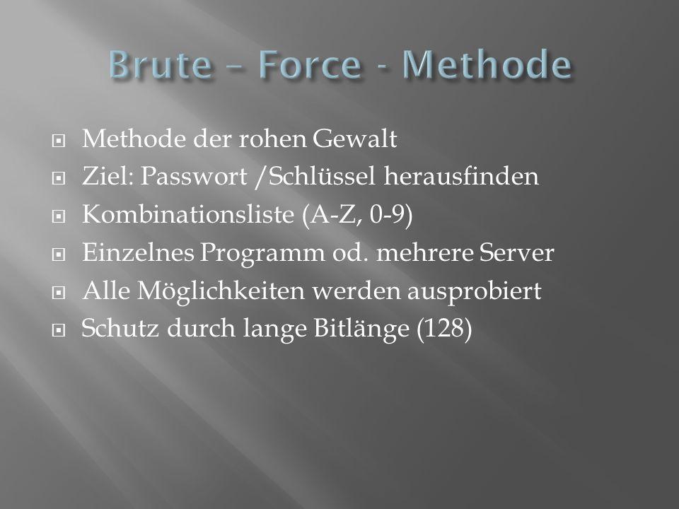 Methode der rohen Gewalt Ziel: Passwort /Schlüssel herausfinden Kombinationsliste (A-Z, 0-9) Einzelnes Programm od. mehrere Server Alle Möglichkeiten
