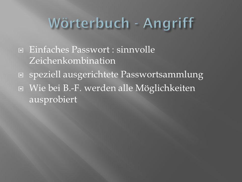 Einfaches Passwort : sinnvolle Zeichenkombination speziell ausgerichtete Passwortsammlung Wie bei B.-F. werden alle Möglichkeiten ausprobiert