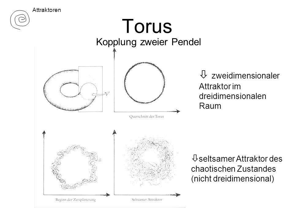 Torus zweidimensionaler Attraktor im dreidimensionalen Raum ò seltsamer Attraktor des chaotischen Zustandes (nicht dreidimensional) Attraktoren Kopplung zweier Pendel