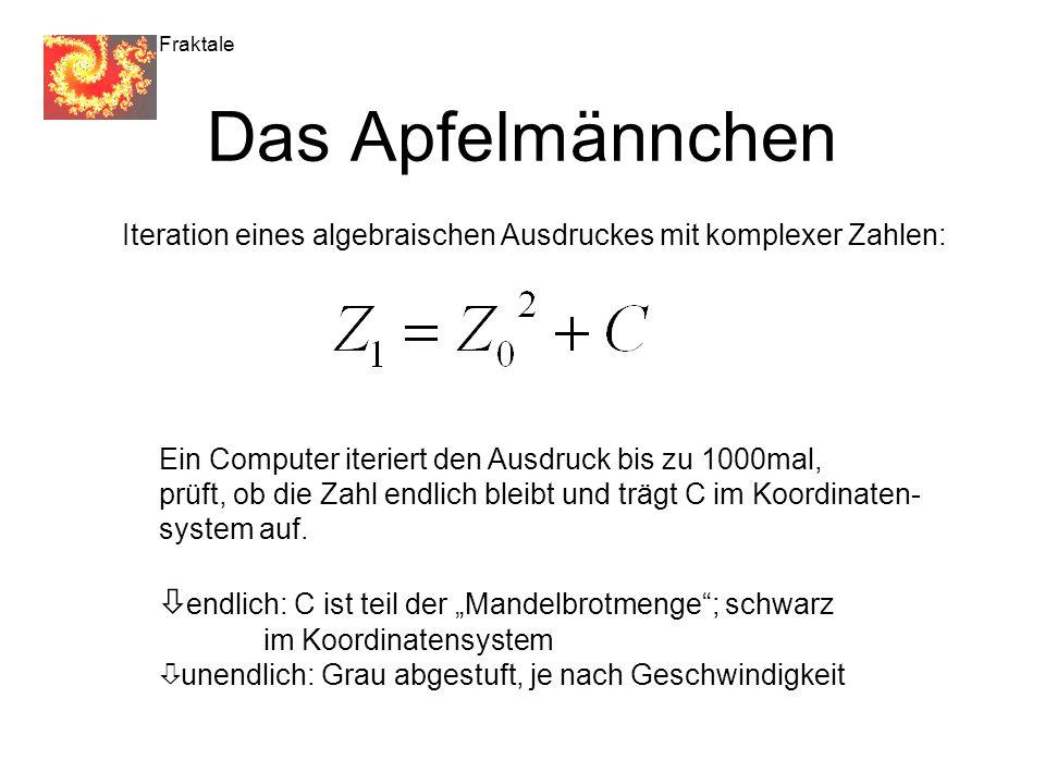 Fraktale Das Apfelmännchen Iteration eines algebraischen Ausdruckes mit komplexer Zahlen: Ein Computer iteriert den Ausdruck bis zu 1000mal, prüft, ob die Zahl endlich bleibt und trägt C im Koordinaten- system auf.