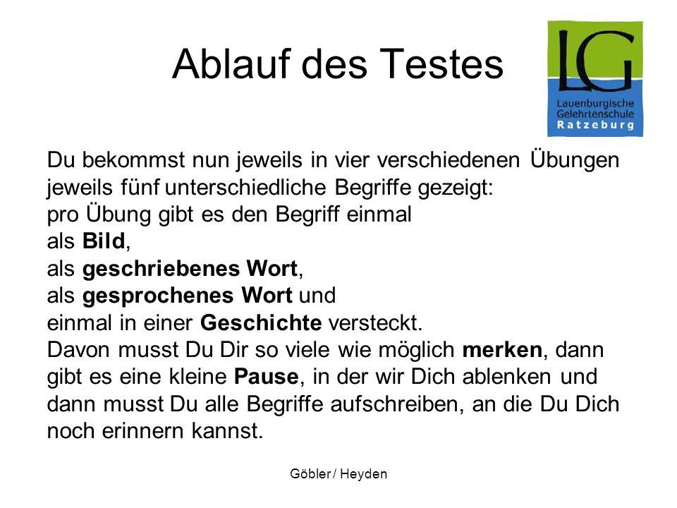 Göbler / Heyden Ablauf des Testes Du bekommst nun jeweils in vier verschiedenen Übungen jeweils fünf unterschiedliche Begriffe gezeigt: pro Übung gibt