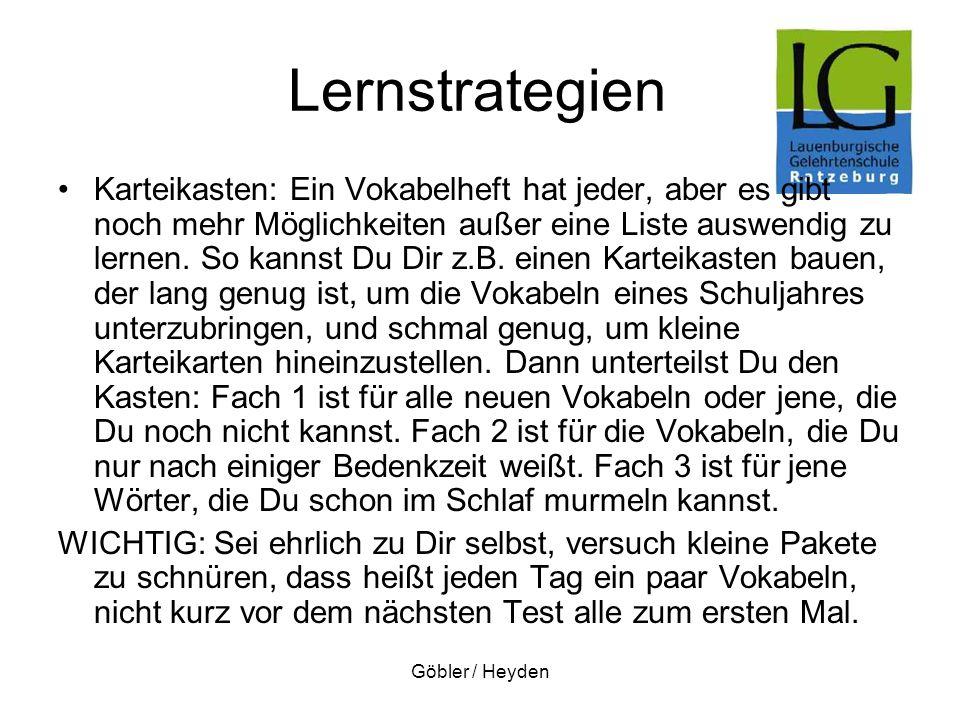 Göbler / Heyden Lernstrategien Karteikasten: Ein Vokabelheft hat jeder, aber es gibt noch mehr Möglichkeiten außer eine Liste auswendig zu lernen. So