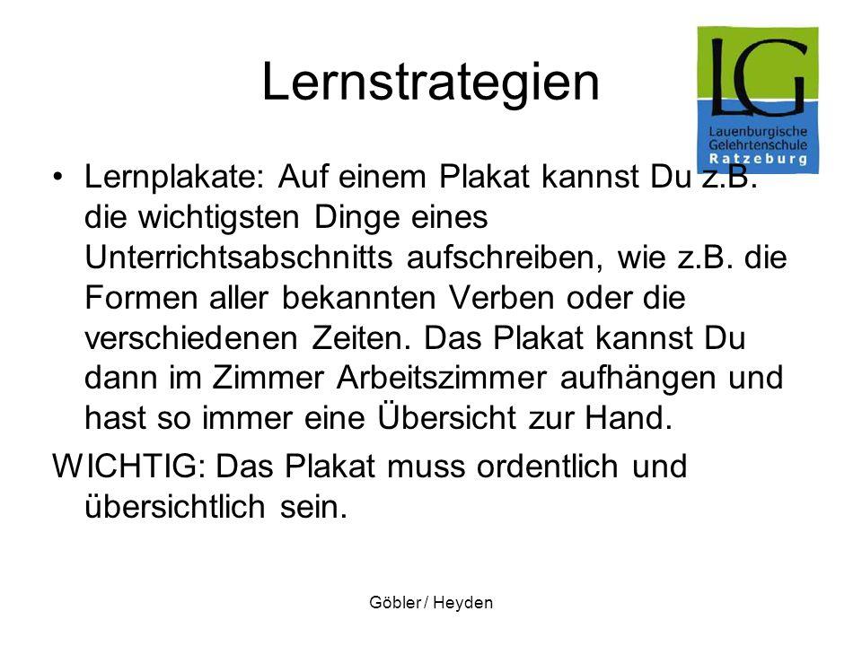Göbler / Heyden Lernstrategien Lernplakate: Auf einem Plakat kannst Du z.B. die wichtigsten Dinge eines Unterrichtsabschnitts aufschreiben, wie z.B. d