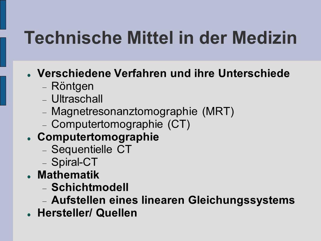 Verschiedene Verfahren und ihre Unterschiede Röntgen Ultraschall Magnetresonanztomographie (MRT) Computertomographie (CT) Computertomographie Sequenti