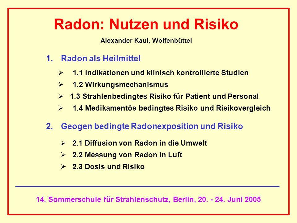 AAAAAAAAA BBBBBBBBBB AAAAAAAAA 14. Sommerschule für Strahlenschutz, Berlin, 20. - 24. Juni 2005 Radon: Nutzen und Risiko Alexander Kaul, Wolfenbüttel