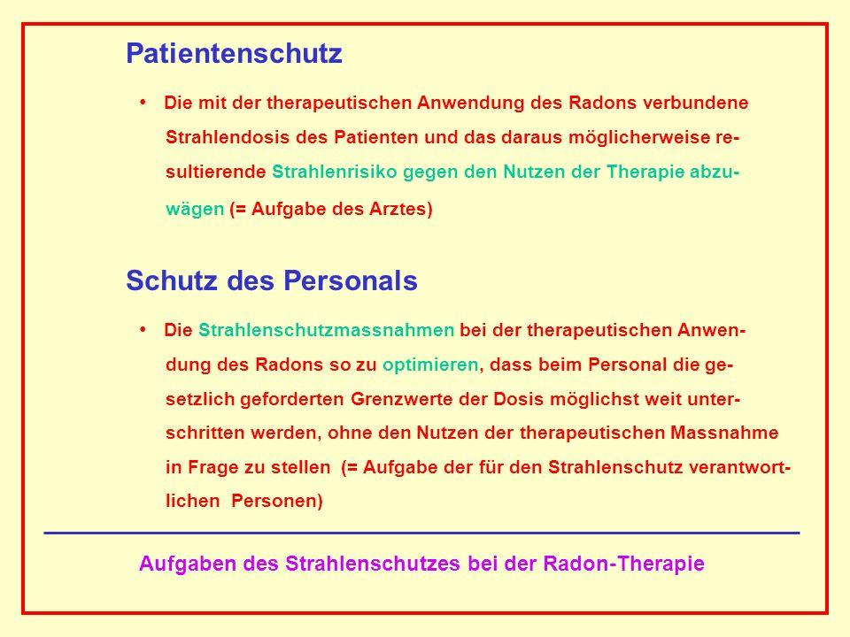 AAAAAAAAA BBBBBBBBBB AAAAAAAAA Aufgaben des Strahlenschutzes bei der Radon-Therapie Patientenschutz Die mit der therapeutischen Anwendung des Radons v