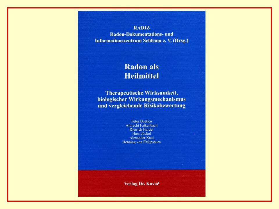 AAAAAAAAA BBBBBBBBBB AAAAAAAAA Vergleich des strahlenbedingten hypothetischen Risikos durch Radon und des beobachteten medikamentös bedingten Risikos durch NSAR Strahlenbedingtes hypothetisches Lungenkrebsmortalitätsrisiko: < 0,01% Medikamentös bedingtes reales Mortalitätsrisiko durch nicht- steroidale Antirheumatika NSAR (berechnet aus der Zahl jährlich mit NSAR behandelter Patienten und der Zahl jährlich erwarteter Todesfälle in Deutschland): 0,05% Strahlenbedingtes / medikamentös bedingtes Risiko 1 : 5