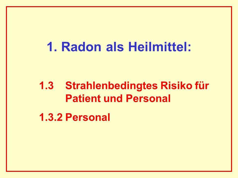 AAAAAAAAA BBBBBBBBBB AAAAAAAAA 1. Radon als Heilmittel: 1.3 Strahlenbedingtes Risiko für Patient und Personal 1.3.2 Personal