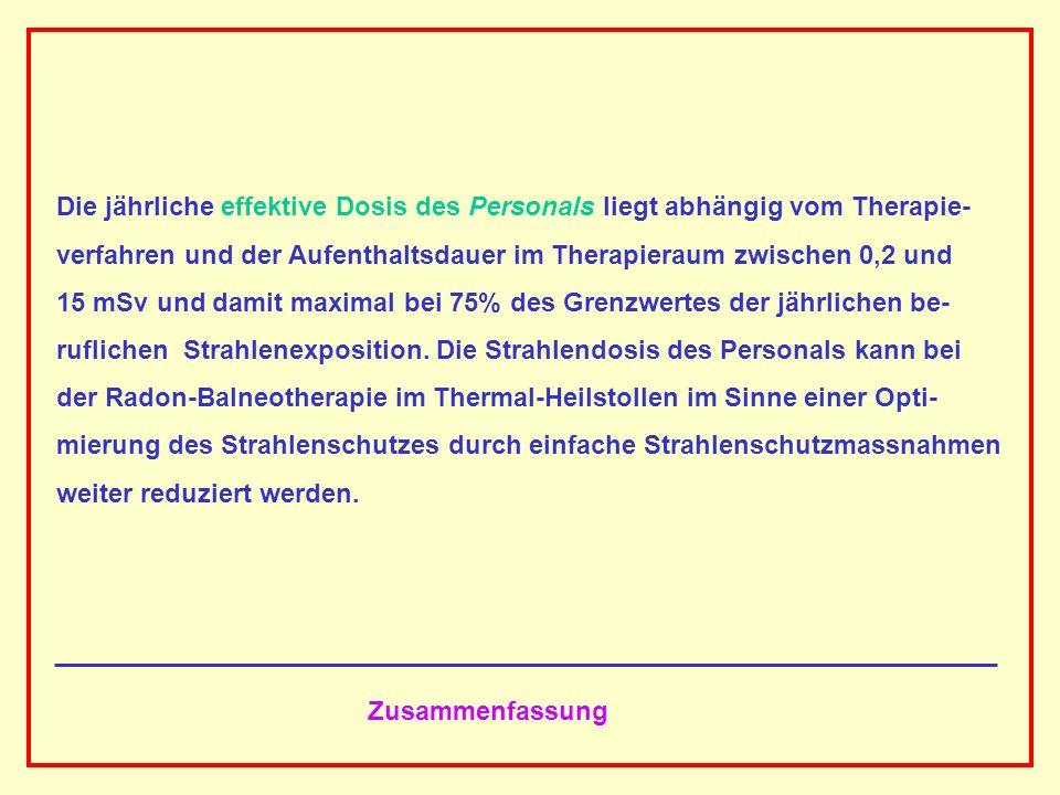 AAAAAAAAA BBBBBBBBBB AAAAAAAAA Zusammenfassung Die jährliche effektive Dosis des Personals liegt abhängig vom Therapie- verfahren und der Aufenthaltsd