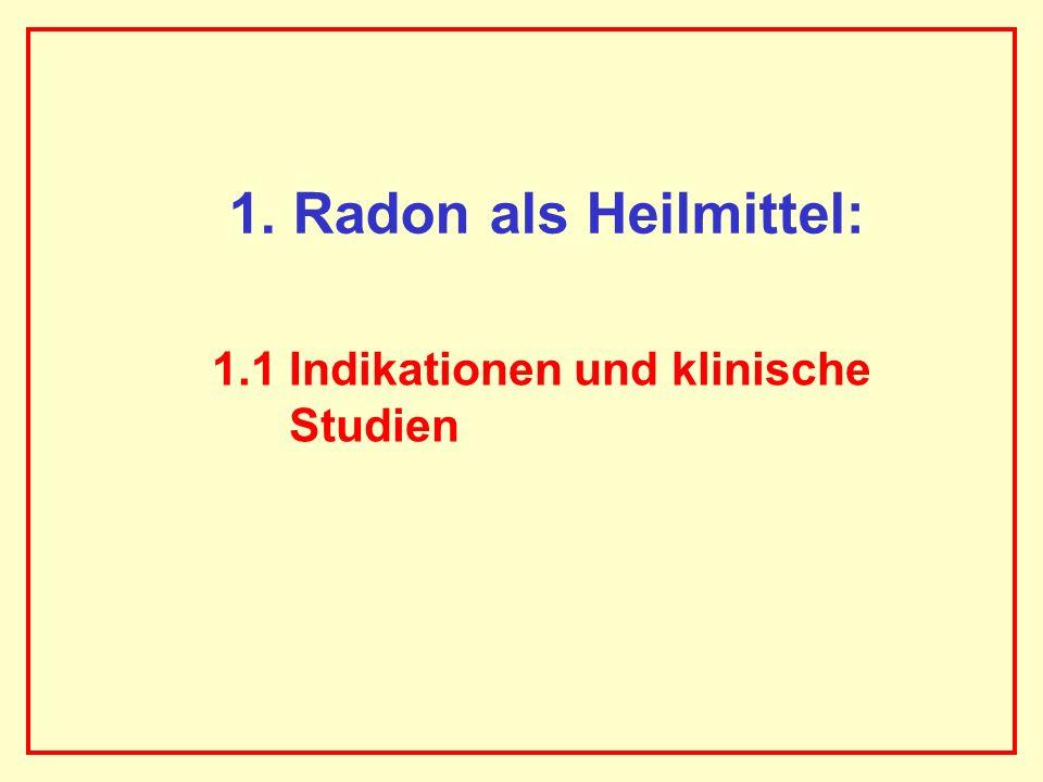 AAAAAAAAA BBBBBBBBBB AAAAAAAAA 222 Rn-Exposition und rechnerisches Lungenkrebsrisiko von Patienten nach mehrmaligen Kuren in einem Radon-Thermalstollen 6 Kuren, 8h mittlere Aufenthaltsdauer im Stollen pro Kur, mittlere 222 Rn- Aktivitätskonzentration 44 kBq/m 3 Exposition: 2,1 x 10 6 Bq h/m 3, d.h.