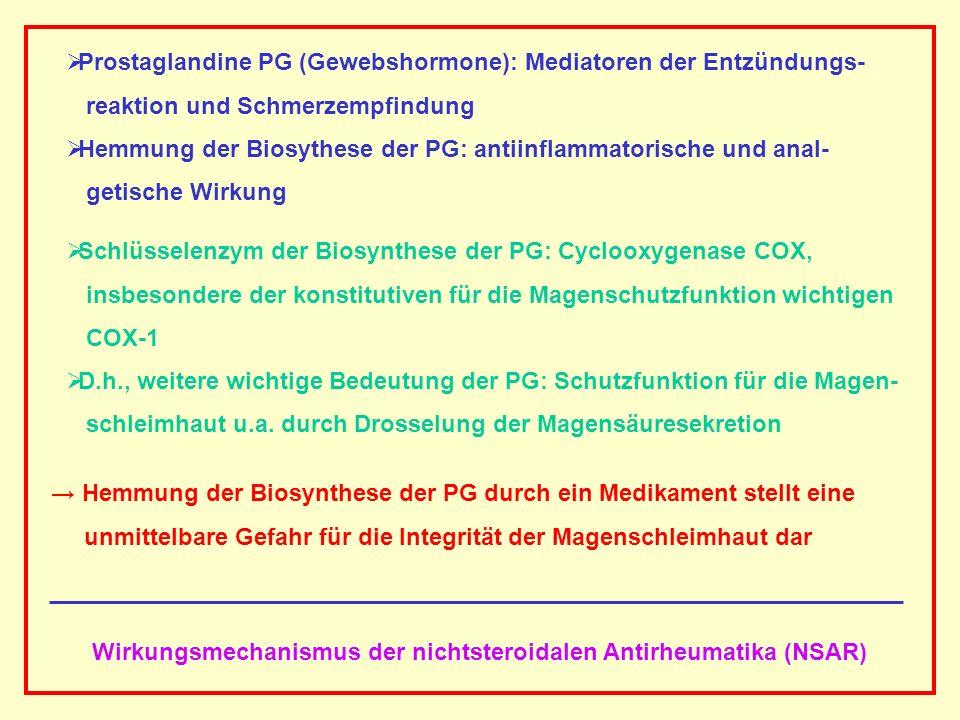 AAAAAAAAA BBBBBBBBBB AAAAAAAAA Wirkungsmechanismus der nichtsteroidalen Antirheumatika (NSAR) Prostaglandine PG (Gewebshormone): Mediatoren der Entzün