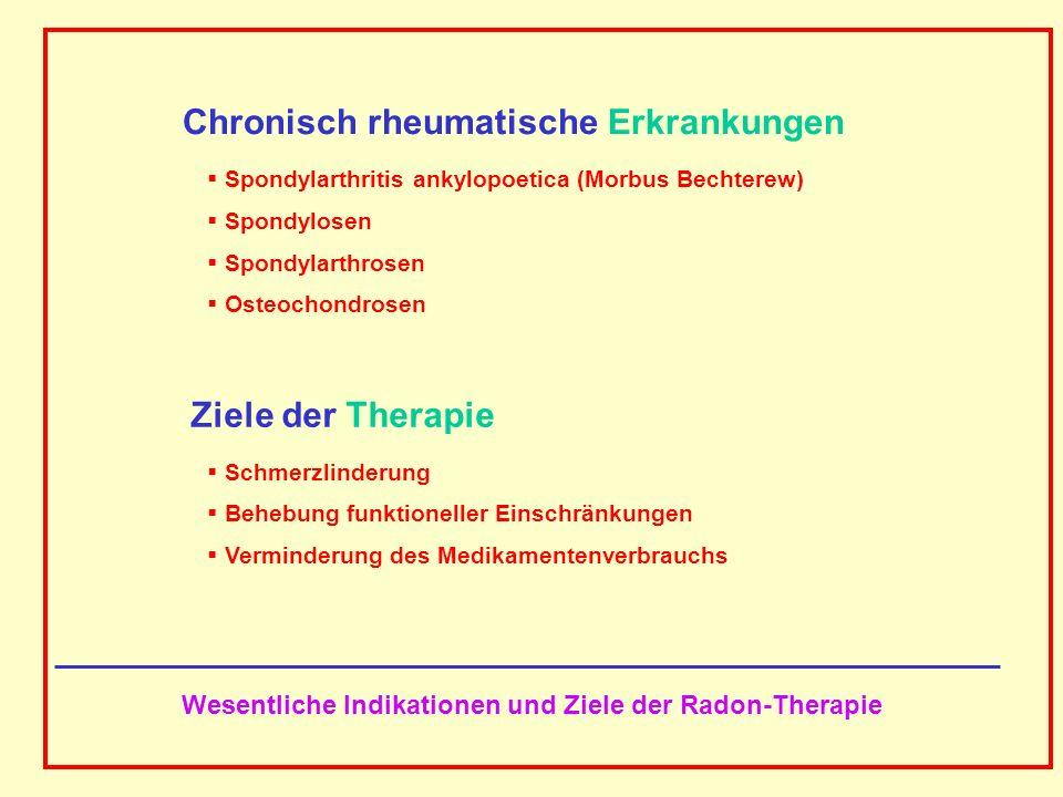 AAAAAAAAA BBBBBBBBBB AAAAAAAAA Molekularer und zellulärer Reaktionsweg der Schmerztherapie chronischer Entzündungen bei der Radon-Badetherapie Energiedeposition von Alphateilchen in einem kleinen Bruchteil der Zellen der Epidermis Herunterregulierung der transendothelialen Leukozy- tenmigration (Wanderung der weissen Blutzellen durch die zelluläre Innenauskleidung der Blutgefässwände) sowie der Makrophagen- und Neutrophilenaktivitäten (enzyma- tischer Abbau von phagozytierten Zellen zu kleineren Mole- külen) mit Hilfe anti-inflammatorischer Zytokine mit einer schützenden Rolle bei Entzündungen (Zytokine: durch Zellen produzierte Proteine, die als Botenstoffe das Verhal- ten anderer Zellen beeinflussen)