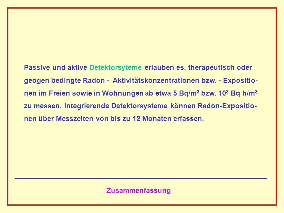 AAAAAAAAA BBBBBBBBBB AAAAAAAAA Zusammenfassung Passive und aktive Detektorsyteme erlauben es, therapeutisch oder geogen bedingte Radon - Aktivitätskon
