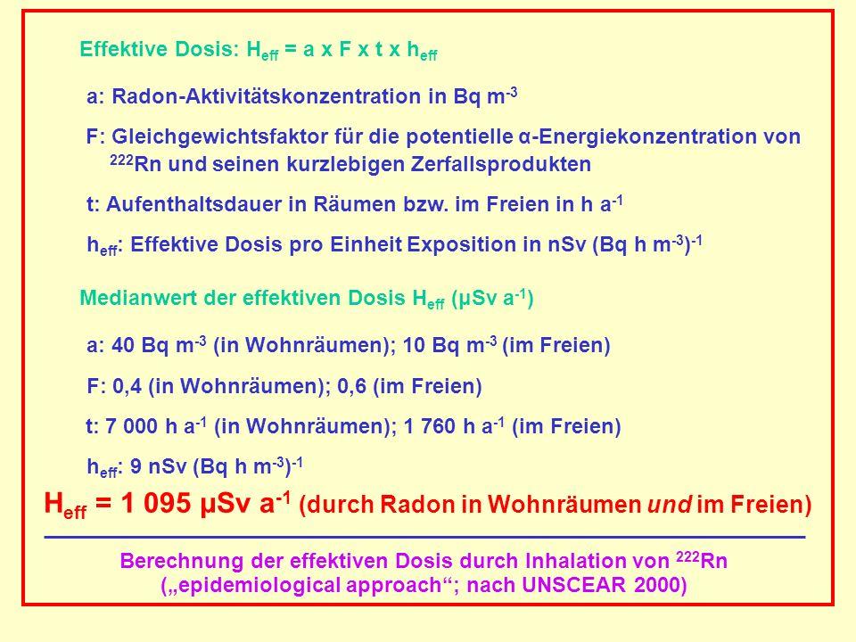 AAAAAAAAA BBBBBBBBBB AAAAAAAAA Berechnung der effektiven Dosis durch Inhalation von 222 Rn (epidemiological approach; nach UNSCEAR 2000) Effektive Dos